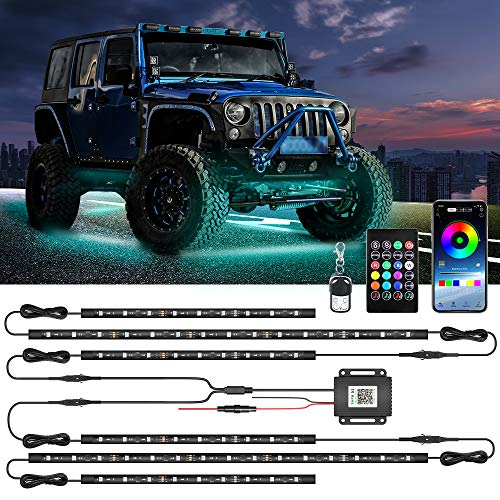 MustWin Underglow Lights for Car 6pcs Dreamcolor Exterior LED Car Lights Waterproof 2-in-1 Design Truck Strip Lights with APP & RF Control 16 Million Colors Music Mode (4 X 23.6 Inch + 2 X 35 Inch)