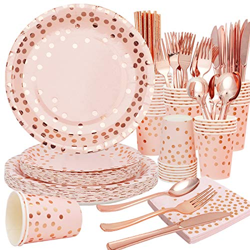 Pink Party Supplies for 25 Guests Pink and Rose Gold Dot Paper Plates Napkins Cups And Cutlery for Birthday Bridal Baby Shower, Pink Disposable Party Dinnerware Set 200 PCS