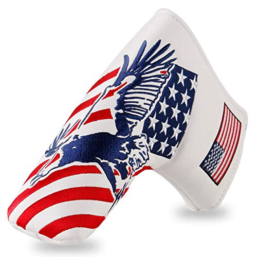FINGER TEN Golf Head Covers for Putters Magnetic Mallet Blade Headcover USA Star Stripes Eagle Flag Design, Magnet Closure Fit All Golf Blade Mallet Putters (USA Eagle-Blade Cover)