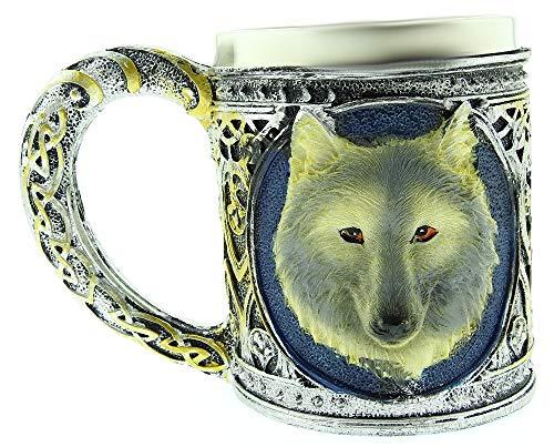 Taza de Lobo - Perro - Escudo de Armas - 3D - Acero Inoxidable - Resina - Jarra de Cerveza - Horror - gótico - Bebidas - café - Hombre - Vikingo - Medieval - Halloween