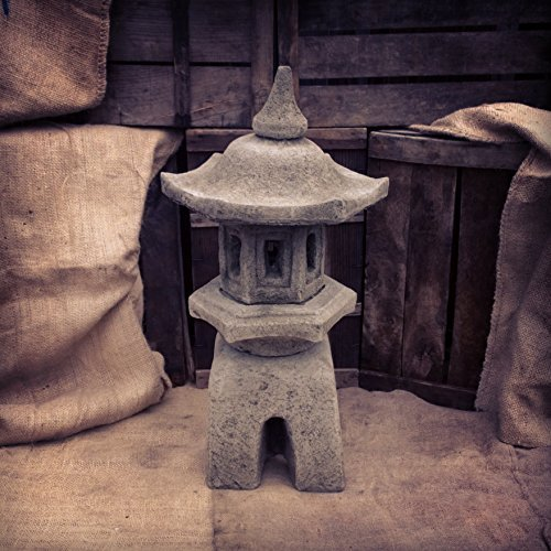 Four Seasons- Outdoor Garden Pagoda Ornament Frost proof Light Grey Stone Ornate Kyoto Chinese Japanese Pagoda Ornament