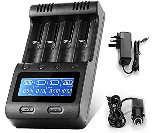 Zanflare C4 - Caricatore universale per batteria ricaricabile Ni-MH Ni-Cd A AA AAA AAAA SC, Li-ion 18650 26650 26500 22650 18490 17670 17500