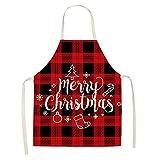 Hwtcjx Delantales de Navidad, delantal cocina, 1 pieza mandiles de cocina, Hecho de material de lino de alta densidad, no es fácil de deformar, para familias, restaurante (55 x 68cm, estilo: A)