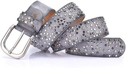 Women's Belt Cool Rivet Ladies Waist Bandwidth Wild Jeans Belt Casual Belt (Color : Gray)