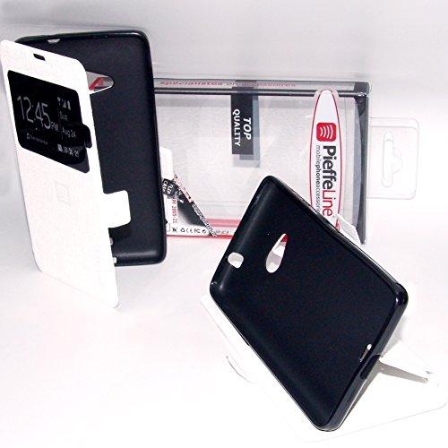 PIEFFELINE Custodia in Eco Pelle Bianca con Cover in Silicone e Finestra View Flip Case Ultra Slim per Nokia Lumia 535