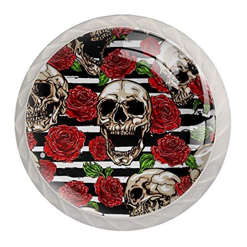 Perillas de gabinete de cocina Perillas decorativas redondas Gabinete Cajones de armario Tirador de tocador 4PCS Sugar Skull Rose Pattern Stripes
