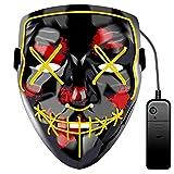JCT Halloween LED Máscaras Purga Grimace Mask Horror Mask Scary LED Ilumina Máscaras para Halloween, Fiestas de Disfraces, Mascaradas, Carnavales, Regalos For Adultos Infantiles (Amarillo)
