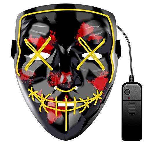 JCT Halloween LED Maske Purge Maske LED Light Up EL Wire Maske Deko Requisiten für Festival Cosplay Party Halloween Kostüm Erwachsene Kinder (Yellow)