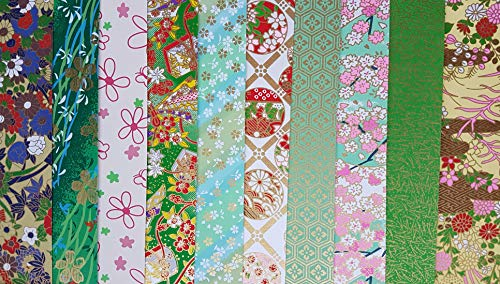 traditionellen japanischen Chiyogami-Yuzen Papier ~ 10Blatt ~ 20x 20cm ~ Ref: C