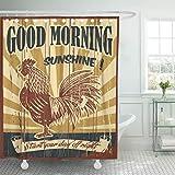 COFEIYISI Duschvorhänge Huhn Guten Morgen Sonnenschein Zeichen mit Zeichnung des Hahns Sonne Hahn Hahn Tag gezeichnete Hand natürlich Wasserdicht Bad Vorhang Polyester Stoff mit 12 Haken 180x180 cm