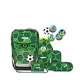 ergobag cubo Set - ergonomischer Schulrucksack, Set 5-teilig - ElfmetBär - Grün