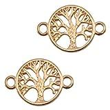 Nuoli Schmuckverbinder Lebensbaum Rosegold (2 Stück) Armband Zwischenstück Baum 22 x 15mm, DQ...