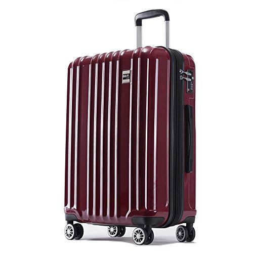 スーツケース 機内持ち込み SS 中型 M 大型 L サイズ 軽量 ファスナー TSAロック搭載 キャリーバッグ AKTIVA (中型、Mサイズ, ワインレッド)