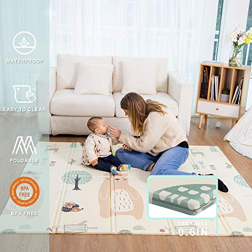 Baby Play mat, playmat, Baby mat Folding Extra Large Thick Foam Crawling playmats Reversible Waterproof Portable playmat for Babies (Bear)