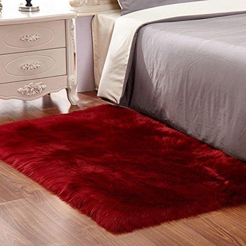 Faux Fur Sheepskin Area Rug, Baby Bedroom Rugs Fluffy Rug Home Decorative Shaggy Rectangle Carpet, 2x3 Feet, Burgundy