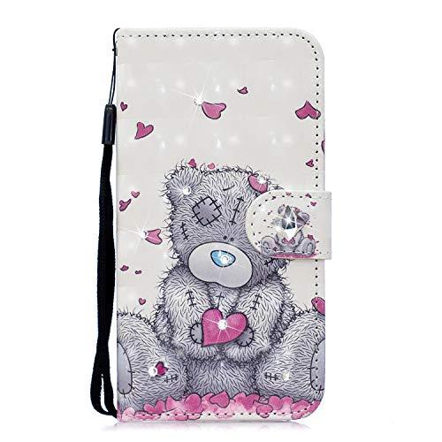 iPhone SE 2020 / iPhone 8 / iPhone 7 Hülle 3D Muster Glitzer Edelsteine PU Leder Stoßfest Wallet Case mit Ständer Magnetisch Folio Silikon Gel Schutzhülle mit niedlicher Handschlaufe Love Heart Bear