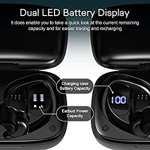DIGITNOW Wireless Earbuds Bluetooth 5.0 Headphones 48Hrs Play Back Touch Control with LED Display Charging Case Waterproof Stereo Earphones in-Ear Built-in Mic Headset Deep Bass for Sport Workout