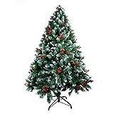 AGM Árbol de Navidad Artificial, árbol de Navidad Verde Abeto, Agujas de Pino mezcladas | Bayas Rojas | Bisagras | Base de Metal, Material de PVC, decoración del hogar de Hotel Boutique 210cm