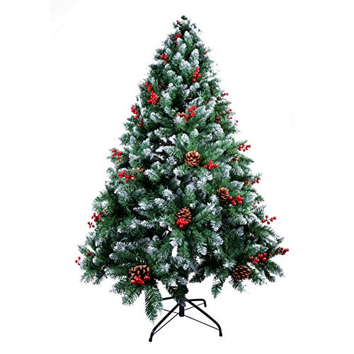AGM 5ft/1.5M Christmas Tree, Snow Flocked Artificial Christmas Tree with Mixed Pine Needles, Red Berries and Premium Metal Hinges & Base, 100% New PVC Material, for Xmas Indoor and Outdoor Decoration