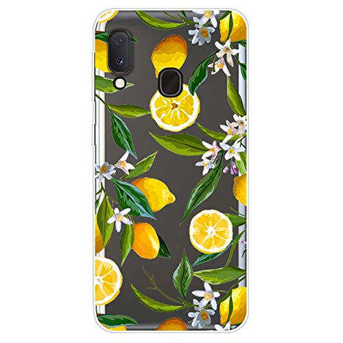 Uposao Coque pour Samsung Galaxy A20e,Étui Transparent Motif Jolie Cool Silicone Gel TPU Souple Ultra Slim Ultra Hybrid Case Bumper Anti Choc Housse de Protection pour Galaxy A20e,Citron