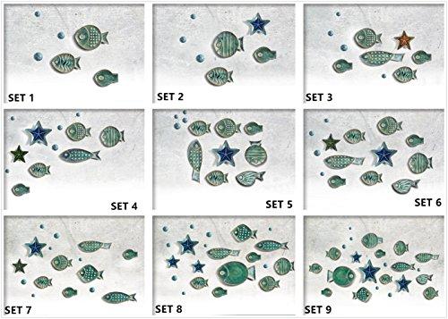 Chinoiseriehouse Sea World Set Ceramic Wall Decor Fish Shaped Hanging Plate (SET9)