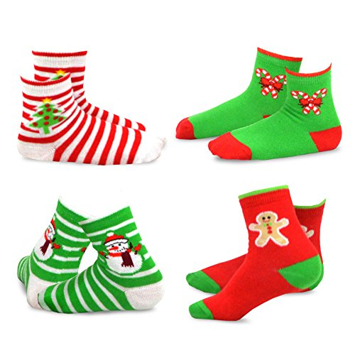 TeeHee Christmas Kids Cotton Fun Crew Socks 4-Pair Pack (6-8 Years, Stripe Tree Snowman Candy Cane)