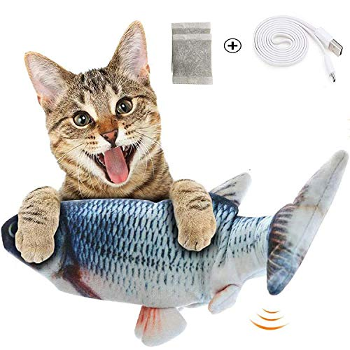 【2020 NEW】Moving Cat Kicker Fish Toy, Realistic Flopping Fish, Wiggle Fish Catnip Toy, Motion Kitten Toy, Plush Interactive Cat Toy, Funny Interactive Pet for Cat Catnip Fish Toys-Perfect Exercise