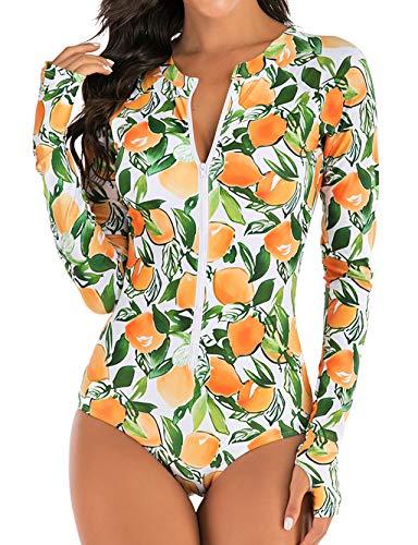 Zafuaz Damen-Badeanzug, modisch, bedruckt, lange Ärmel, Einteiler, Rash Guard, Sonnenschutz Gr. L, A2-a