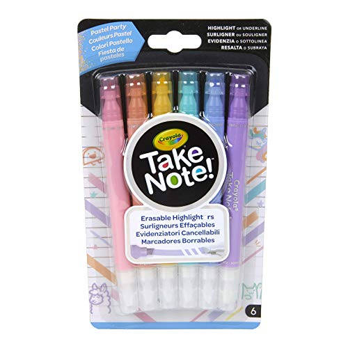 Crayola Take Note Erasable Highlighters Pastel Party, Assorted Colors, 6Count