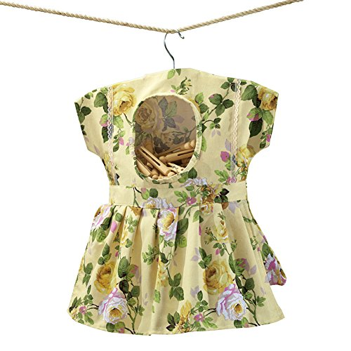 Whimsical Floral Print Dress Hanging Clothespin Bag Use for Indoor or Outdoor Laundry Drying Beige