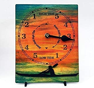 Kayaker tide clock.Hand painted sunset background with sea kayak.Great gift for sea kayakers!Tide clock wall