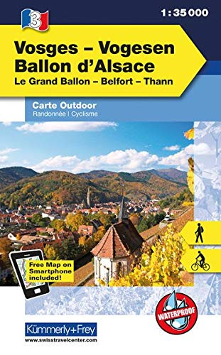 Vogesen - Ballon d'Alsace: Nr. 03, Outdoorkarte Elsass/Vogesen, 1:35 000, Freemap on Smartphone included