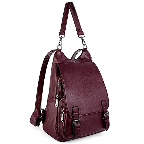 UTO Women Backpack 3 Ways Multipurpose Rucksack Shoulder Bag Handbag Flap Cover Anti Theft Design PU Leather Red