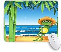 KAPANOU マウスパッド、ヤシの木と海の熱帯のプリントと砂浜のカエル おしゃれ 耐久性が良い 滑り止めゴム底 ゲーミングなど適用 マウス 用ノートブックコンピュータマウスマット