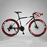 XSLY 2020 New 26 Inch Road Mountain Bike 24 Speed Disc Brakes Front and Rear Bicycles for Women Men Adult Suitable for Height: 160-185cm (Color : Red)