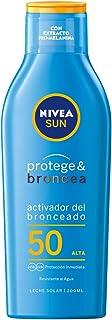NIVEA SUN Protege & Broncea Leche Solar Activadora del Bronceado FP50 (1 x 200 ml), potenciador del bronceado resistente al agua, protección solar alta