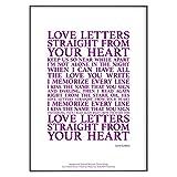 Póster oficial de letras de la canción de amor (sin marco) (A4 (29,7 cm x 21 cm), color morado