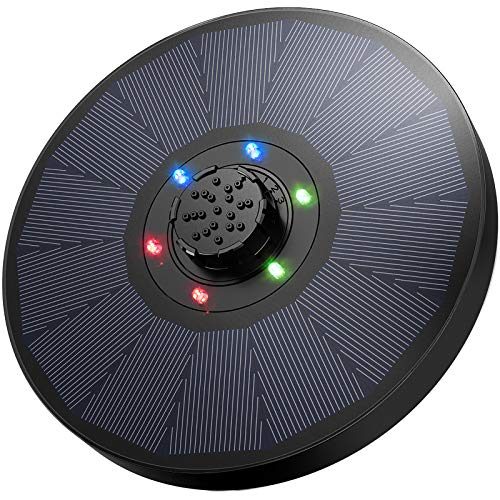 OMORC Bomba de Fuente Solar con Luces LED, Bomba Fuente Solar 9V 2.6W, Respaldo de Batería de 1200mAh, Boquilla 4 en 1 Mejorada para Baño de Pájaros, Pecera, Decoración de Estanque, Diámetro de 18cm