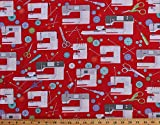 Cotton Sewing Machines Sewing Supplies Seamstress Buttons Pins Scissors on Red Sewing Room Cotton Fabric Print by The Yard (D584.42)