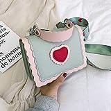 Mdsfe Bolso Cuadrado con Solapa portátil 2019 Bolso de diseñador de Mujer de Cuero de PU de Nueva Calidad Bolso de Hombro con totalizador Lindo - Verde