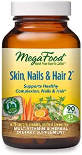 MegaFood, Skin, Nails & Hair 2, Supports Healthy Complexion, Nails & Hair, Multivitamin & Herbal Dietary Supplement, Glute...
