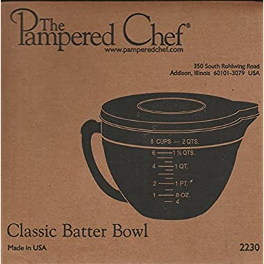 PAMPERED CHEF #2431 8 CUP GLASS CLASSIC BATTER BOWL NEW 2013 STYLE WITH LID