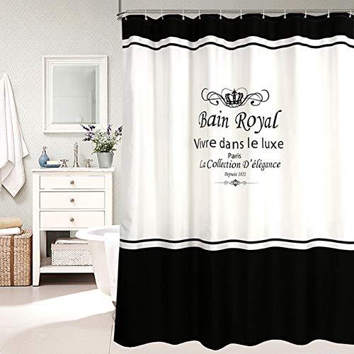 ZSYNB duschvorhang Black Apricot Striped Wasserdichter Polyester Stoff Badvorhang Qualität Duschvorhang Waschbar Skidproof Badzubehör