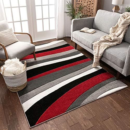 Temptation Waves & Stripes Red, Grey, Ivory Modern 4x5 4x6 ( 3'11'' x 5'3'' ) Geometric Comfy Casual Hand Carved Area Rug Easy to Clean Stain & Fade Resistant Abstract Contemporary Thick Soft Plush