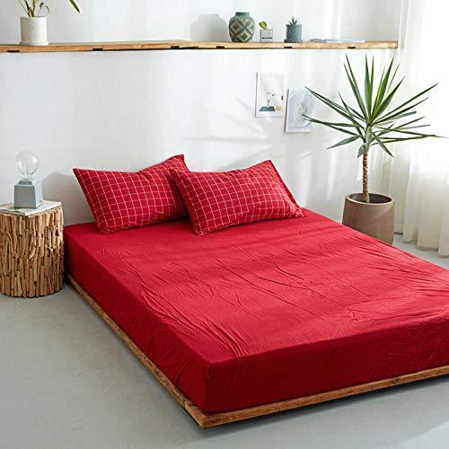 DSman Protector de colchón/Cubre colchón Acolchado, antiácaros, Sábana de algodón de una Sola Pieza Color sólido-18_150 * 200cm