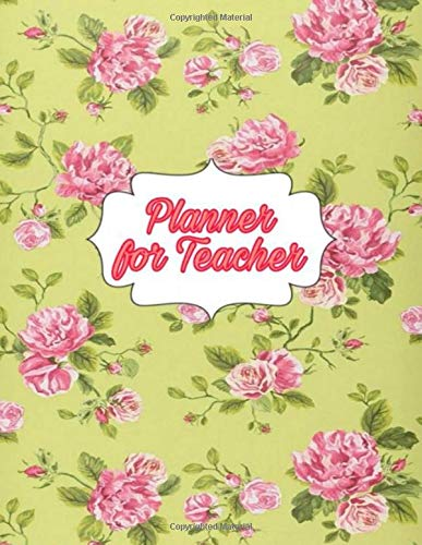 Planner for Teacher: Teacher Agenda For Class Organization and Planning | Weekly and Monthly Academic Year | Blue Floral (2020-2021)