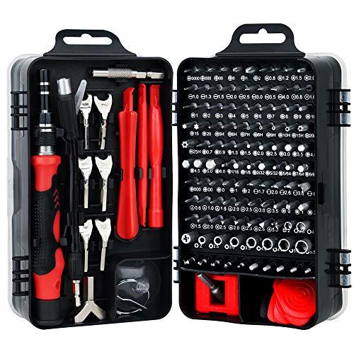 HIRALIY 135 IN 1 Feinmechaniker Schraubendreher Set, Mini Reparatur Werkzeug Set, S2-Stahl Präzisionsschraubendreher Set für Telefon, PC usw, Schraubenzieher Set, Screwdriver Set (Rot)