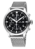 KRONOS - Pilot Automatic Chronograph Black 991.8.55 - Reloj de Caballero automático, Brazalete de Acero, Color Esfera: Negra