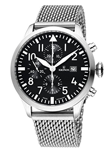 Kronos Herren Uhr Chronograph Automatik mit Edelstahl Armband 991.8.55