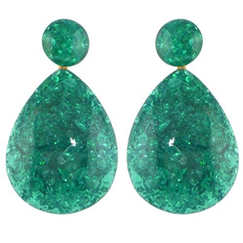 Yazilind mujeres gota cuelgan stud pendientes lágrima piedra natural colgante étnico vintage bohemio retro delicado oído joyería verde